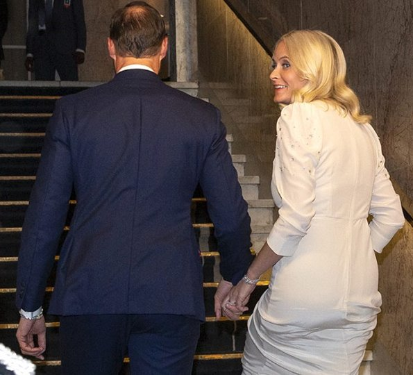 Crown Princess Mette-Marit wore a Pia Tjelta gown, Queen Sonja wore a Dundas chantilly lace-insert silk-georgette gown