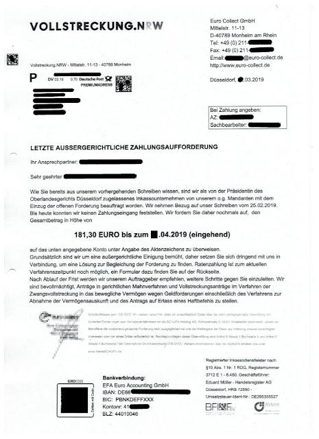 Scan: Vollstreckung.NRW / Euro Collect GmbH / März 2019