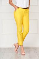 Pantaloni Artista galbeni office conici din bumbac