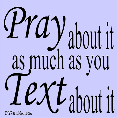 "Teach your kids to ""Pray about it as much as you Text about it"" with this prayer lesson enhancer.  This printable tag is perfect for your next lesson on prayer. #prayerlesson #prayer #prayabout it #diypartymomblog"
