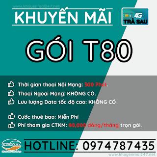 T80 - GÓI KHUYẾN MÃI TRẢ SAU VIETTEL T80