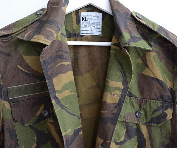 ビンテージオランダ軍DPMカモフラ迷彩ミリタリーフィールドシャツ
