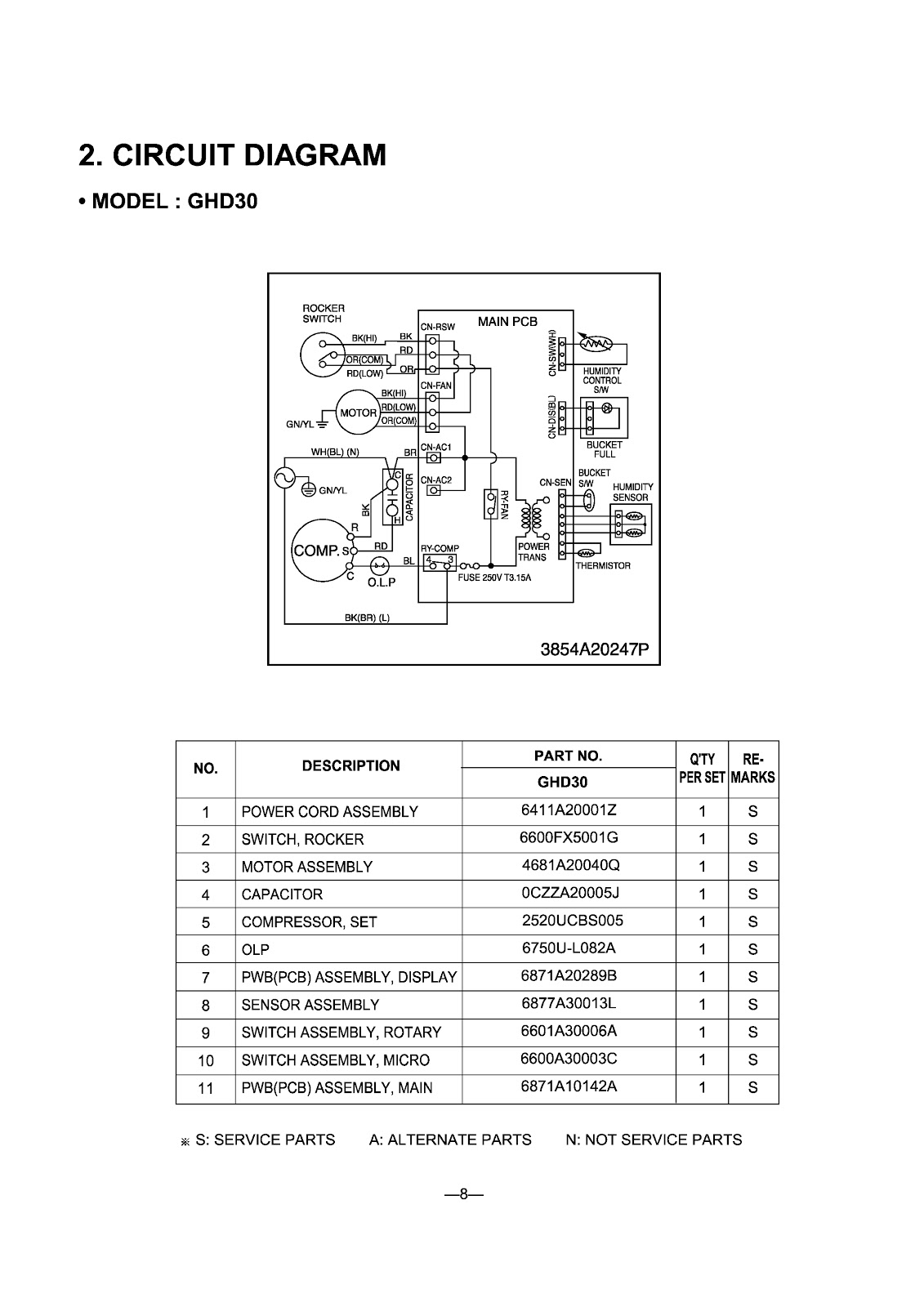 LG  DEHUMIDIFIER _ GHD30_LHD45ELY6_LHD65ELY6_ WIRING