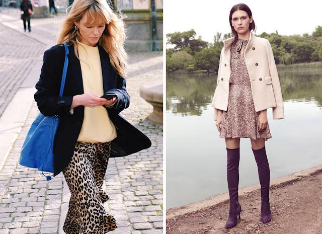Леопардовая юбка с воланом и короткое леопардовое плате со строгим жакетом