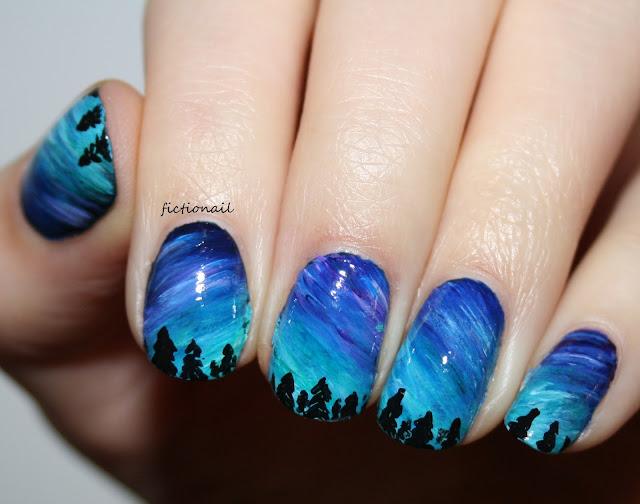 Aurora Borealis Northern Lights Nail Art
