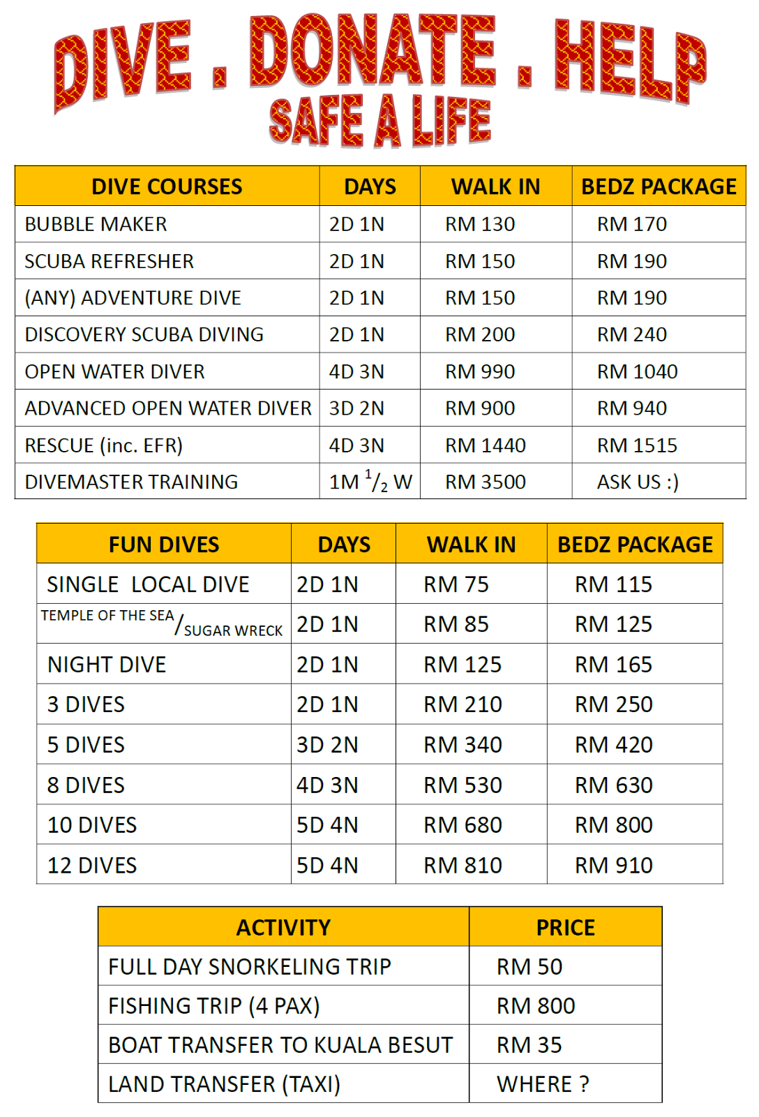 Monkey Dives Scuba Diving Prices For 2017 Malaysia