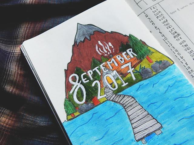 September Bullet journal set up monthly spread