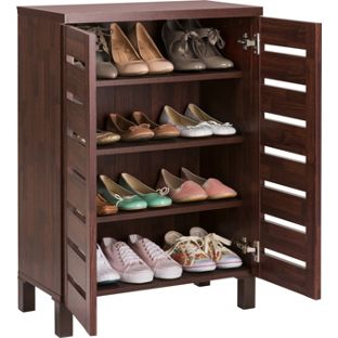 Special Offer HOME Slatted 2 Door Shoe Storage Cabinet Mahogany Effect £49.99