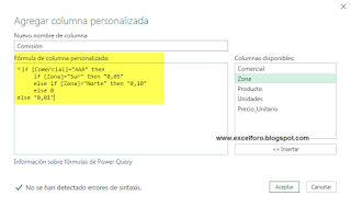 Condicionales Personalizados con Power Query