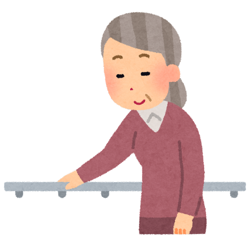 無料イラスト かわいいフリー素材集: 手すりに捉まるお婆さんのイラスト(介護)