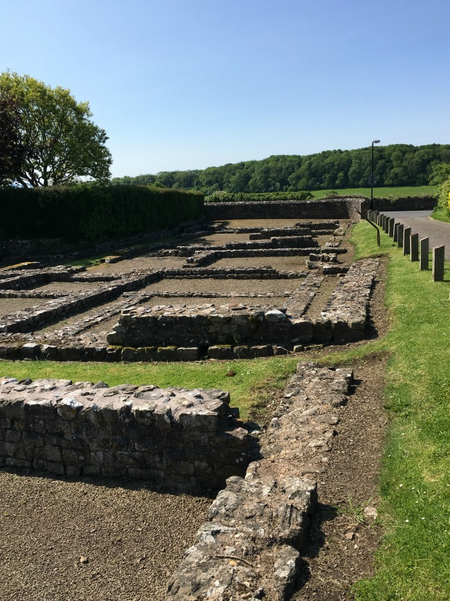 Caerwent Roman Town - A Toddler Explores ruins in squares, low walls