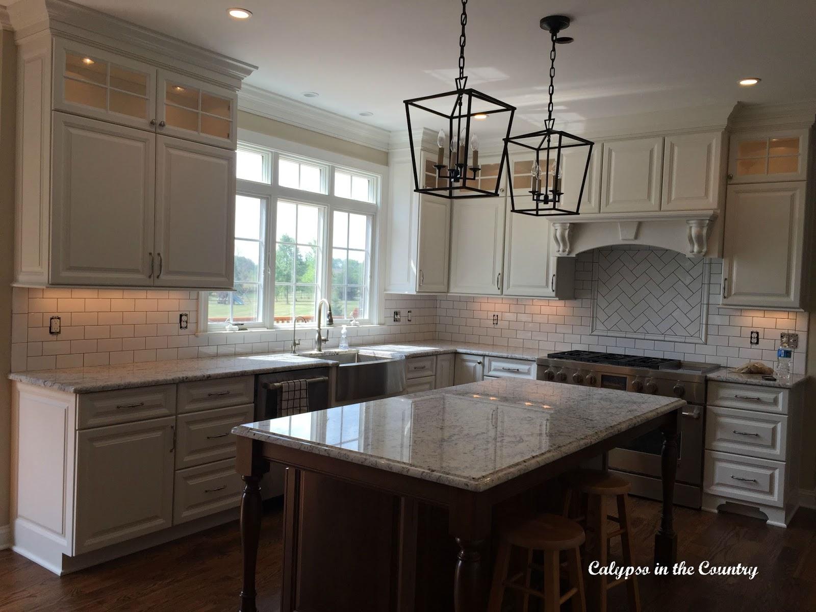 Modern Farmhouse Kitchen - White Subway Tile with gray grout vs. white grout