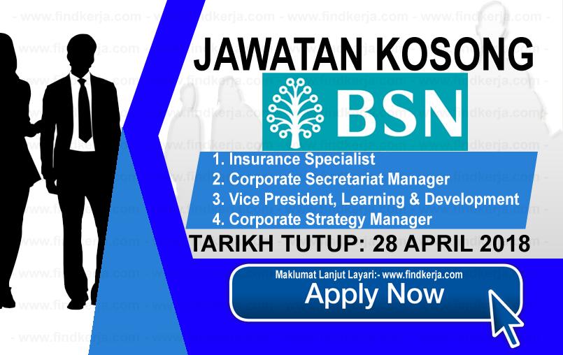 Jawatan Kerja Kosong BSN - Bank Simpanan Nasional logo www.findkerja.com april 2018