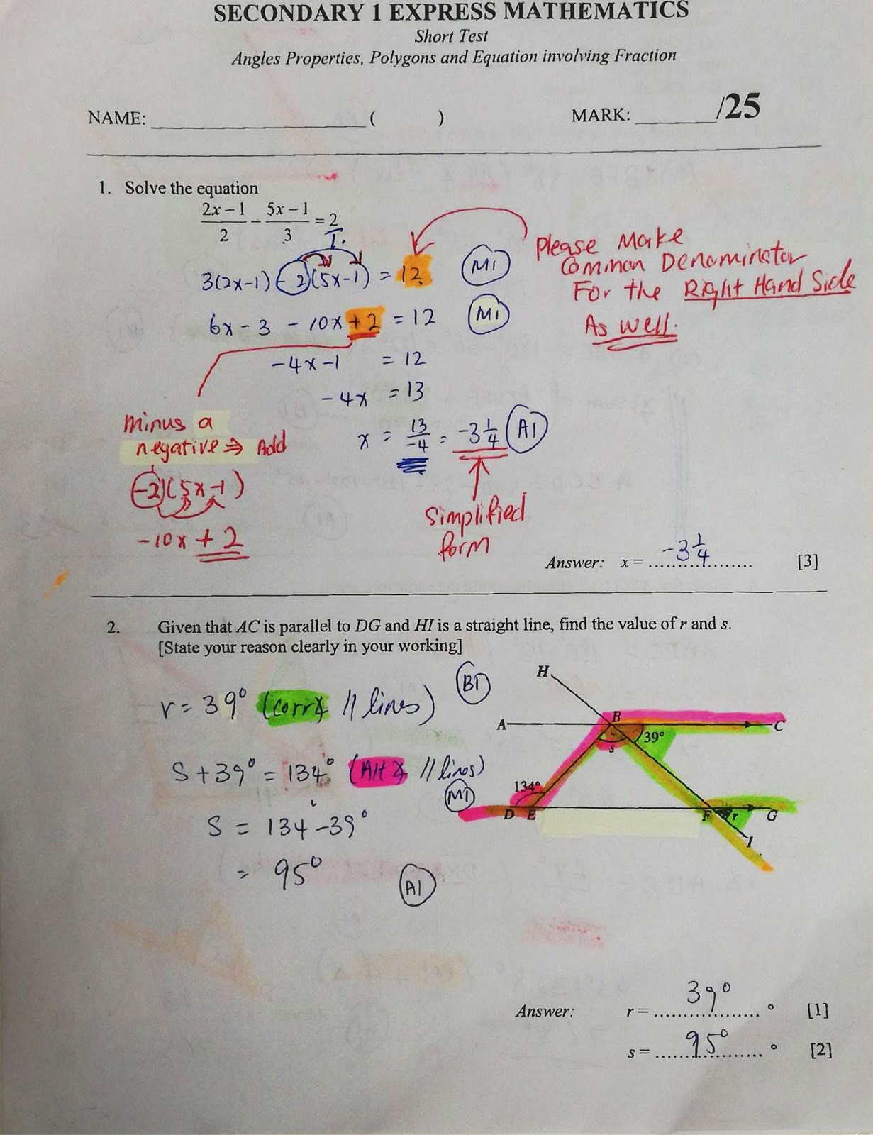Short Test Angles Properties Polygon And Equation