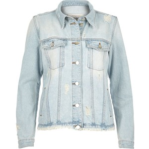 light blue wash raw denim jacket from River Island