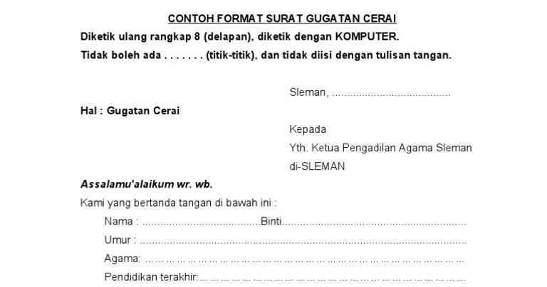 Surat Permohonan Gugat Cerai