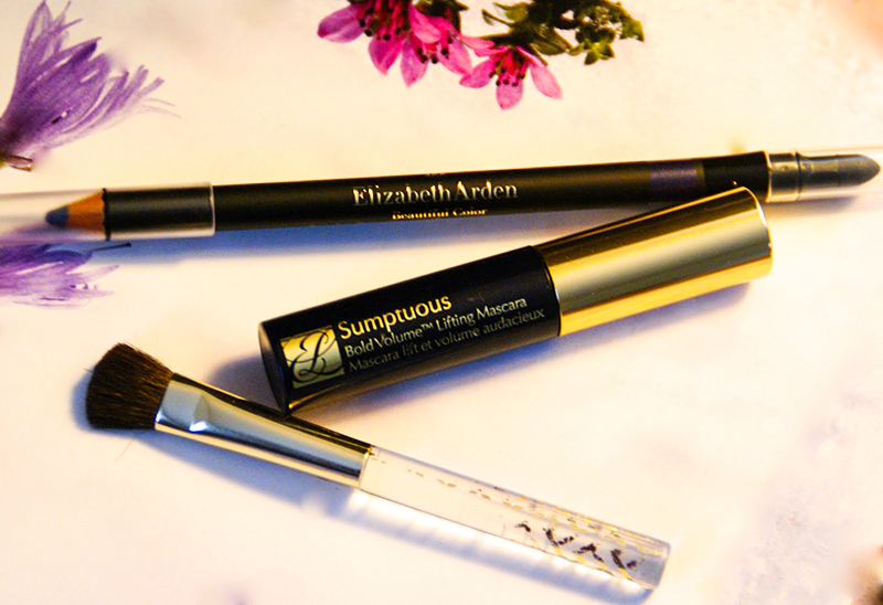 Elizabeth Arden eye pencil, Estee Lauder mascara and brush, makeup