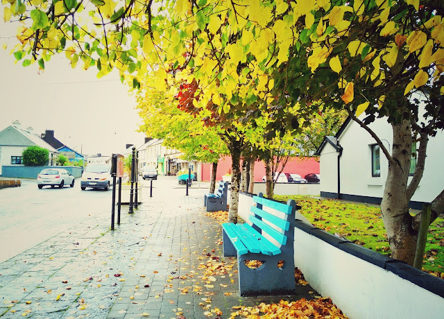 bench, road, autumn, village, Oughterard, Galway