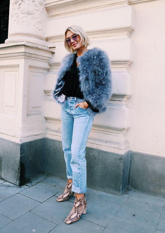 Josefin Dahlberg - Blue Furry Coat + Levis High Waist Jeans + Snake Print Boots