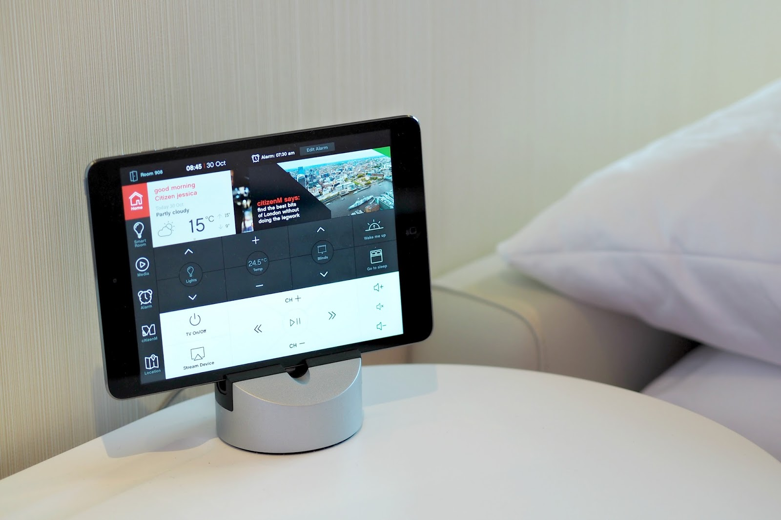 hotel room controlled by tablet