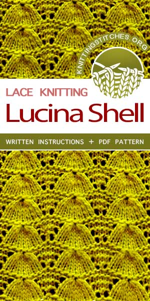 KnittingStitches.org -- Free Knitting Stitches. Lovely knitted lace stitch pattern, Knit Lucina Shell Stitch, very well-written pattern. #knittingstitches #knittingpatterns