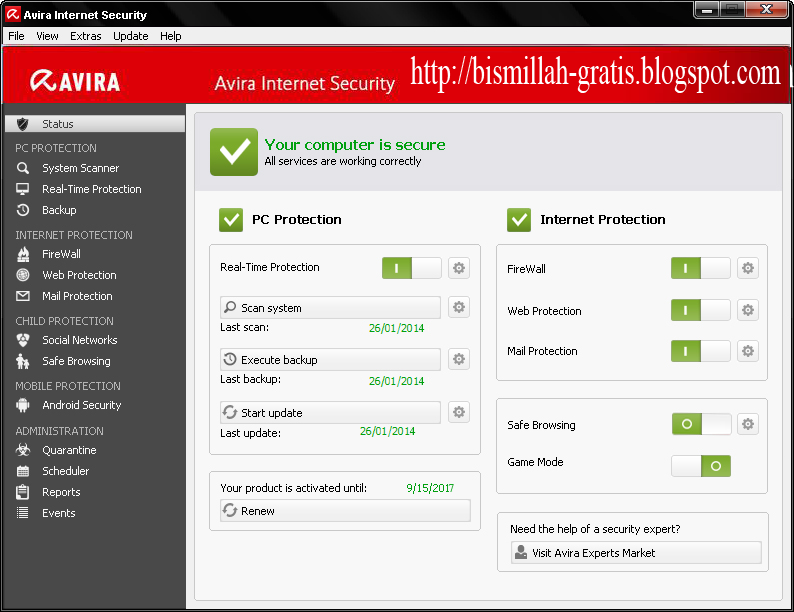 http://bismillah-gratis.blogspot.com/2014/01/BG-avira-internet-security-2014-full-license-key-until-2017.html