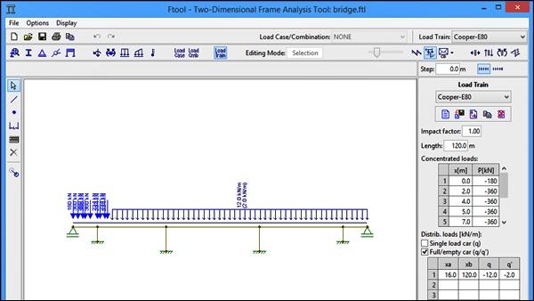 tela do programa de engenharia ftool