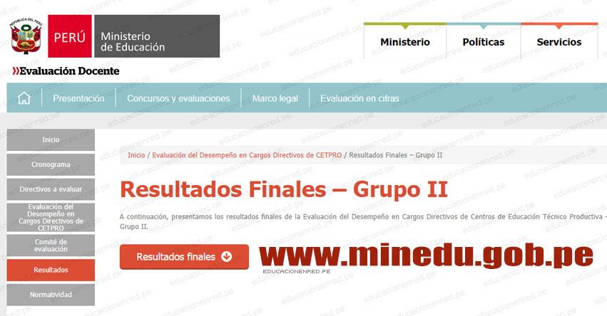 MINEDU: Resultados Finales Evaluación Desempeño Cargos Directivos de CETPRO - GRUPO II (12 Diciembre 2018) www.minedu.gob.pe