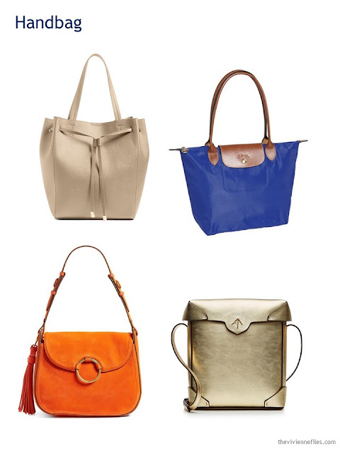 A Capsule Wardrobe in Beige, Bright Blue and Orange: Expanding Your Accessories - handbags