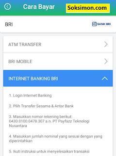 Cara bayar Payfazz dengan Internet Banking BRI