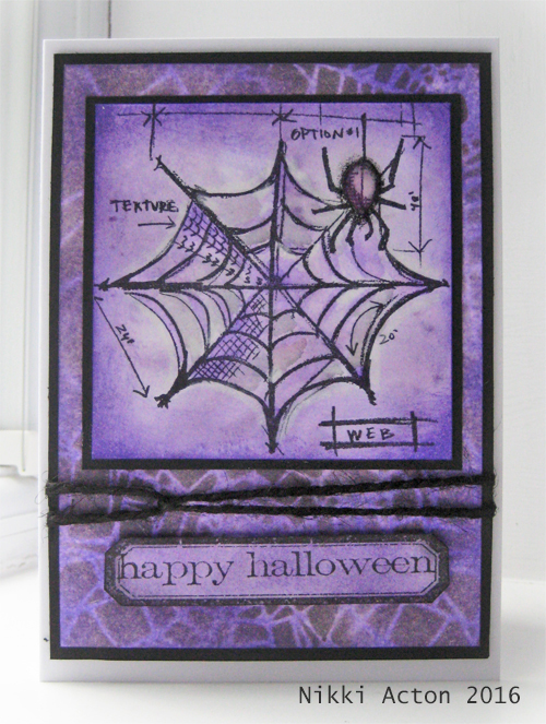 Tim Holtz Halloween Blueprint and Wilted Violet Distress Ink Card