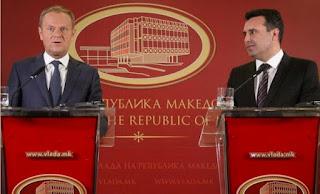 Επτάλεπτη ομιλία Τουσκ στα... «μακεδονικά», δίπλα στον Ζάεφ