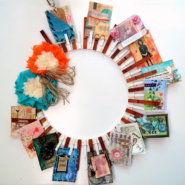 Clothespin Artist Trading Card Wreath by Dana Tatar for Canvas Corp Brands