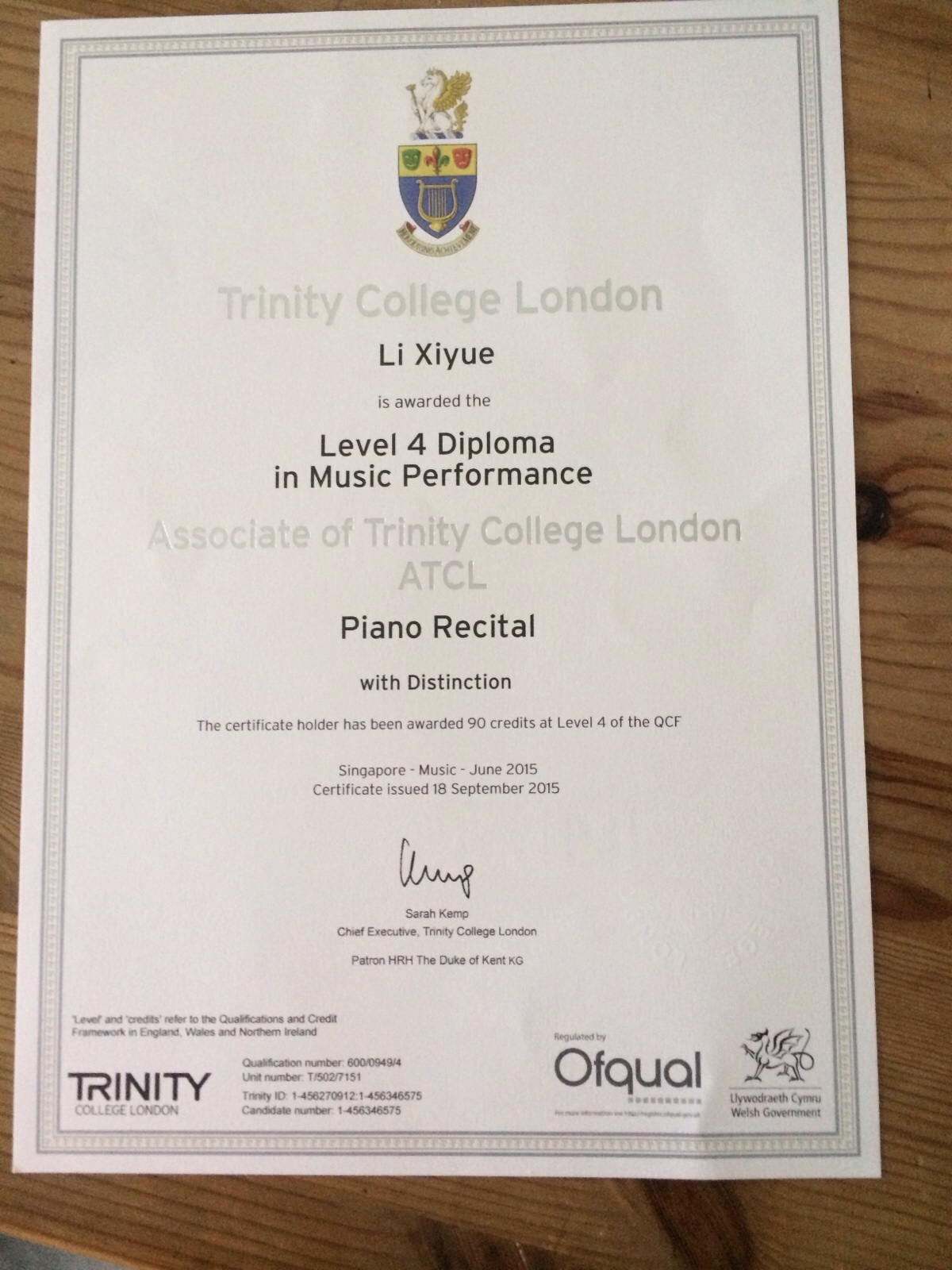 Bravo piano teacher mavis congratulations on your excellent result in trinity college london piano examination in 2015 well done keep it up xflitez Images