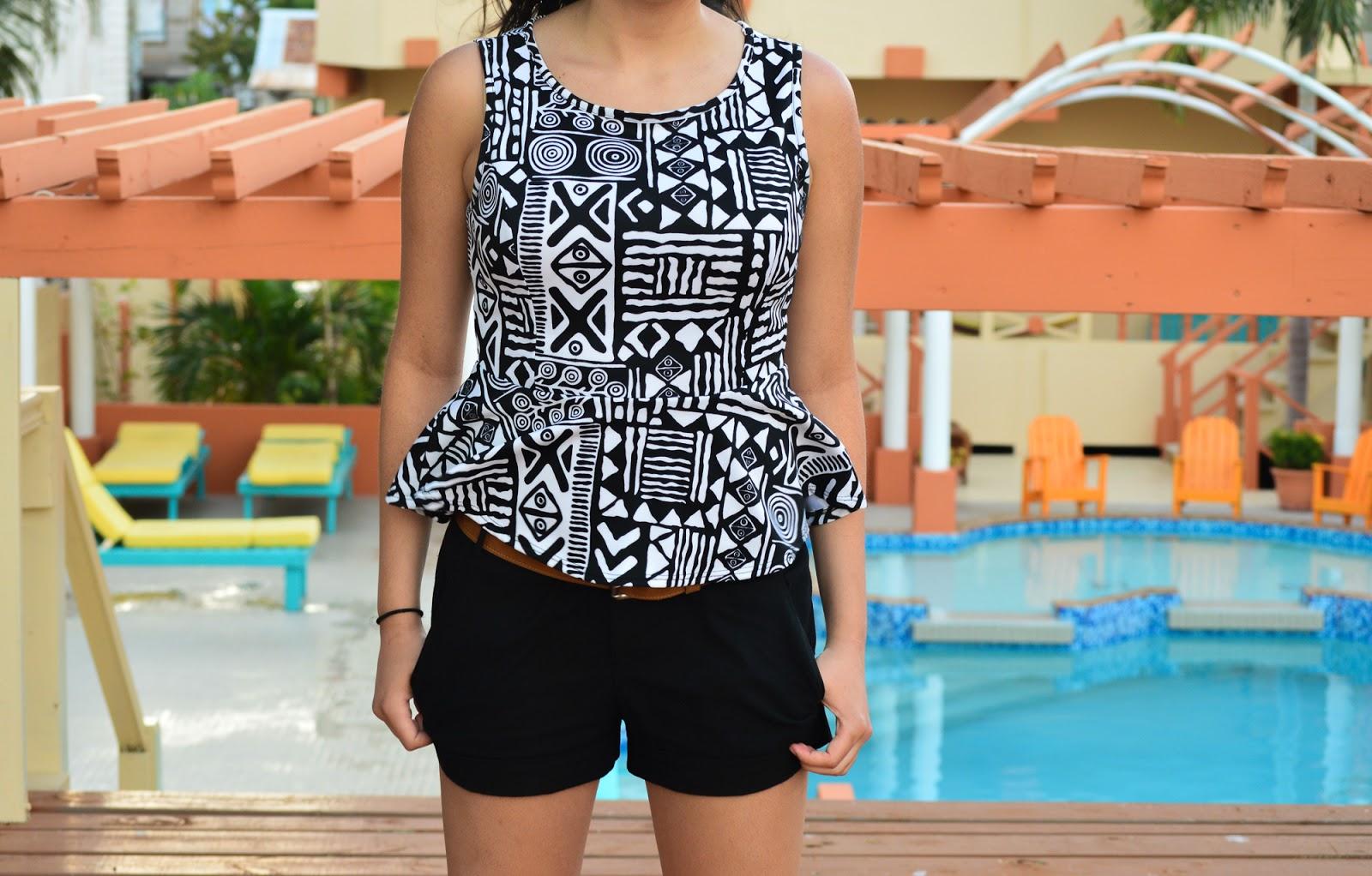 Ladies tribal print peplum top linen shorts