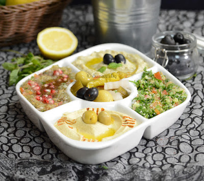 Arabic Mezze Platter ~ Arabic dips and salad ~ Tabbouleh
