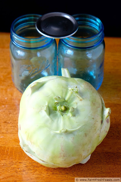 massive kohlrabi and 2 pint jars ready for pickles