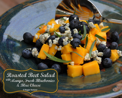 Roasted Beet Salad with Fresh Mango, Blueberries & Blue Cheese, another easy summer salad ♥ AVeggieVenture.com. Just Five Ingredients. Weeknight Easy. Beautiful Summer Color. Weight Watchers Friendly. Gluten Free.