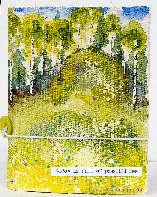 Layers of ink - Watercolor Meadow Notebook Tutorial by Anna-Karin Evaldsson. With Eileen Hull Sizzix Notebook die.