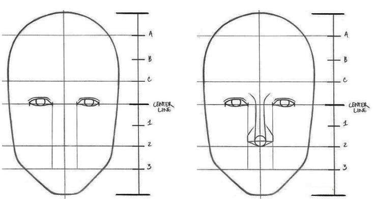 menggambar mata yang indah Langkah 4: Gambarlah hidung yang proporsional