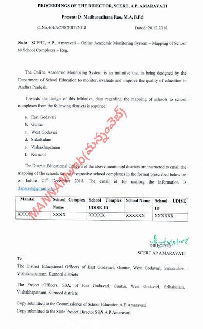 Online Academic Monitoring System Mapping of School  to School Complexes-Reg.