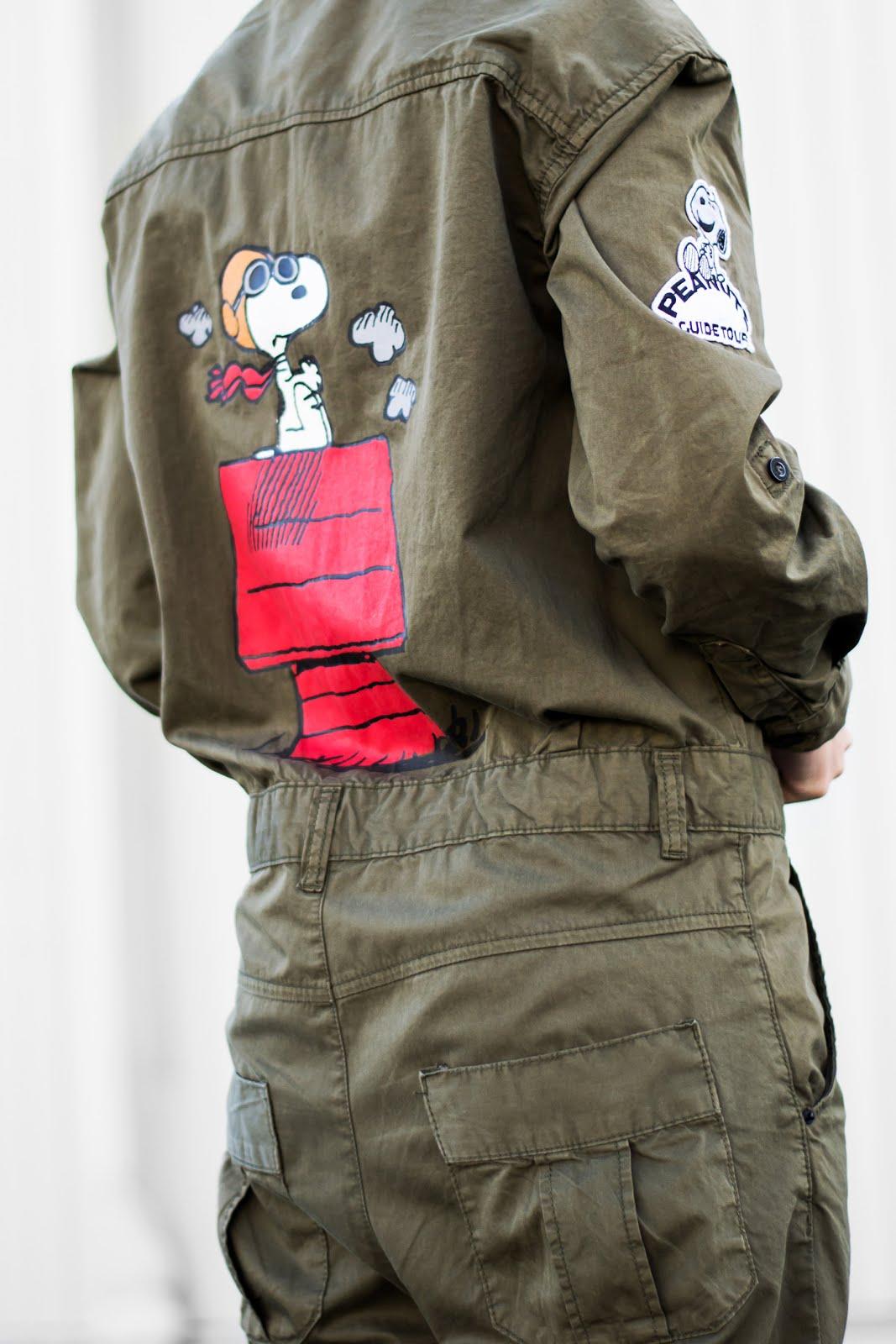 Peanuts boilersuit, jumpsuit, snoopy, zara trf, sale, khaki green, monochrome converse, all star, black, outfit, minimal