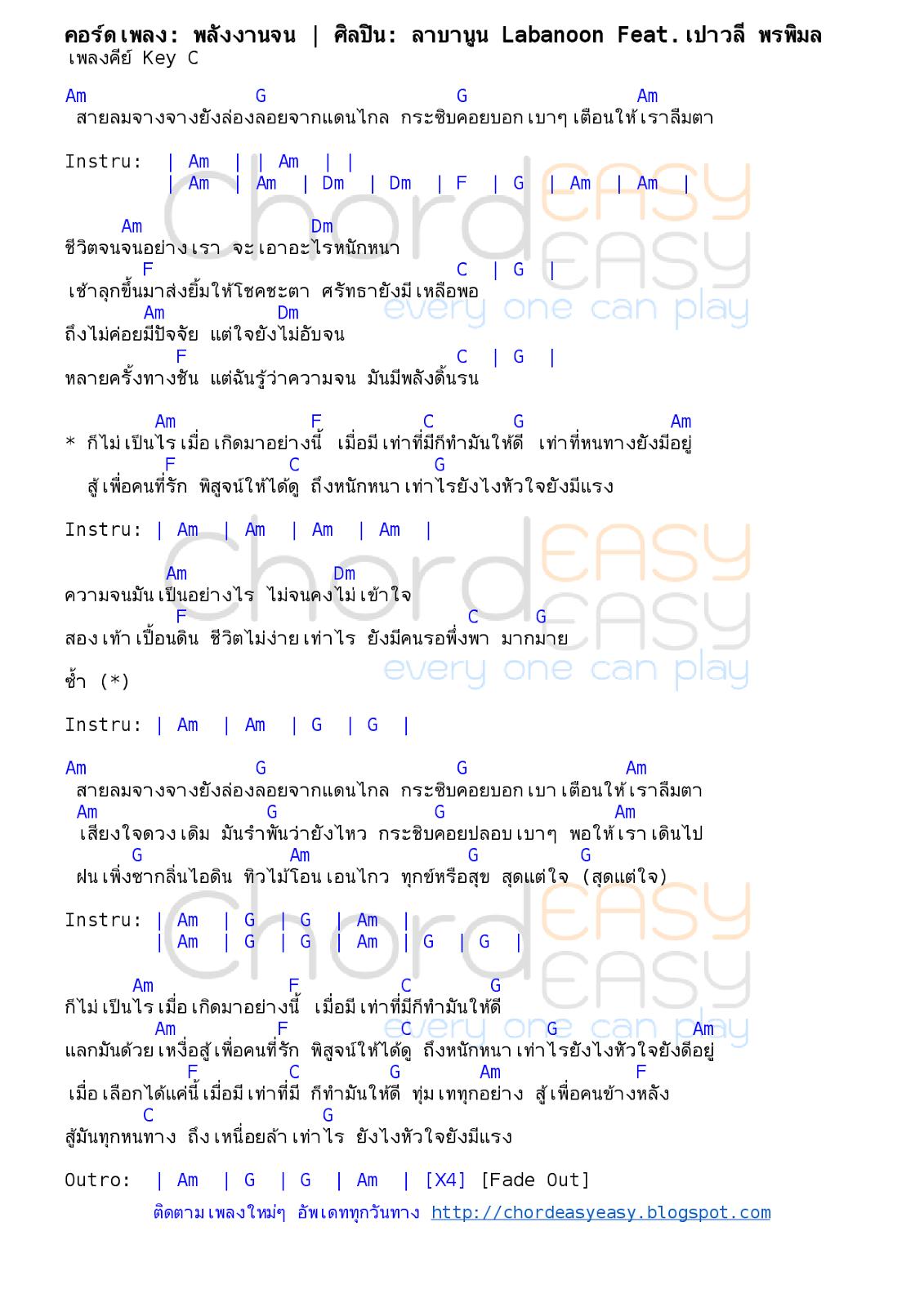 คอร์ดเพลง: พลังงานจน | ศิลปิน: ลาบานูน Labanoon Feat.เปาวลี พรพิมล | คอร์ดง่ายๆ Key C | คอร์ดเพลง พลังงานจน | คอร์ดกีตาร์ | Ukulele | เนื้อร้อง | เนื้อเพลง พลังงานจน | ลาบานูน Labanoon Feat.เปาวลี พรพิมล