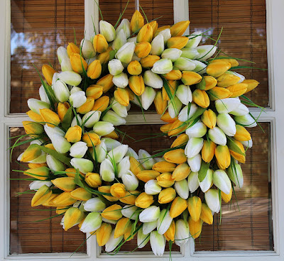 Full white and yellow tulip wreath