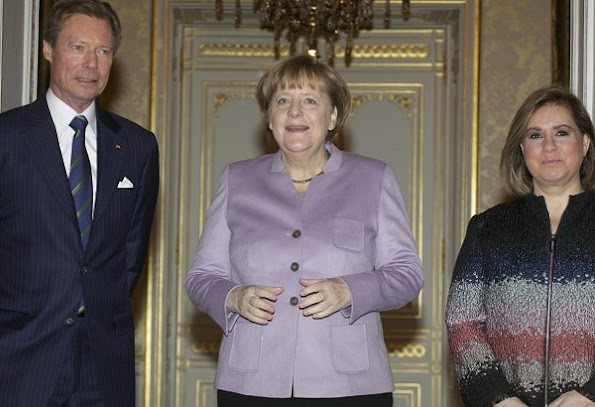 Grand Duke Henri and Grand Duchess Maria Teresa  of Luxembourg met with German Chancellor Angela Merkel
