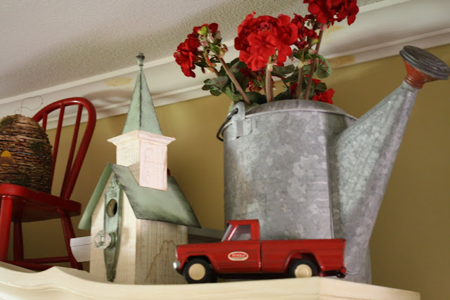 vintage, red tonka truck, watering can