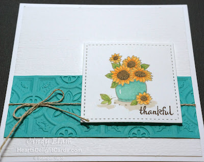 Heart's Delight Cards, FMS353, CAS, Many Blessings, Thankful, Sunflowers, Stampin' Up!