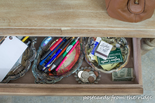Storing pens, etc in small pretty bowls. Plus many more ideas for organizing the kitchen.