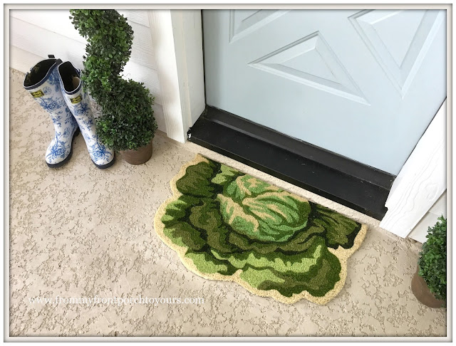 Farmhouse Back Porch-Lettuce Door Mat-Toile Rainboots-From My Front Porch To Yours