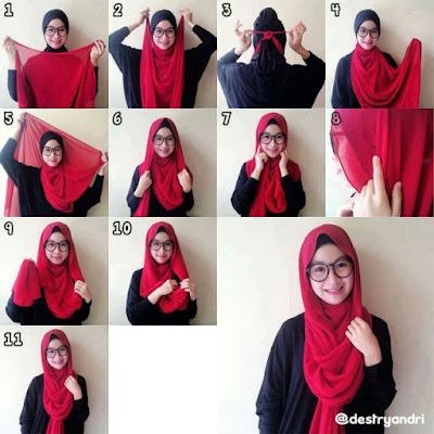 Cara memakai jilbab pashmina bahan sifon